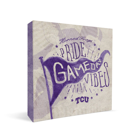 TCU Horned Frogs Gameday Vibes Square Shelf Block