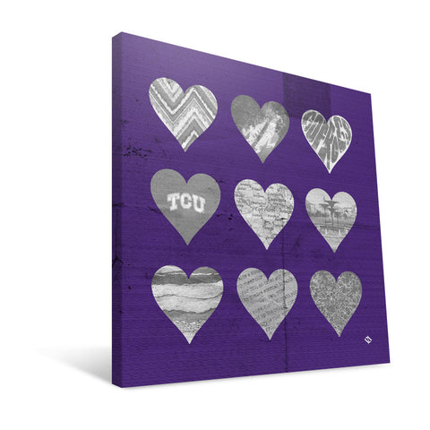 TCU Horned Frogs Hearts Canvas Print