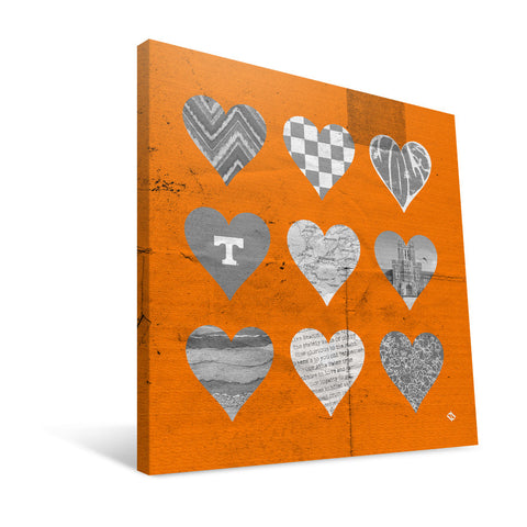 Tennessee Volunteers Hearts Canvas Print