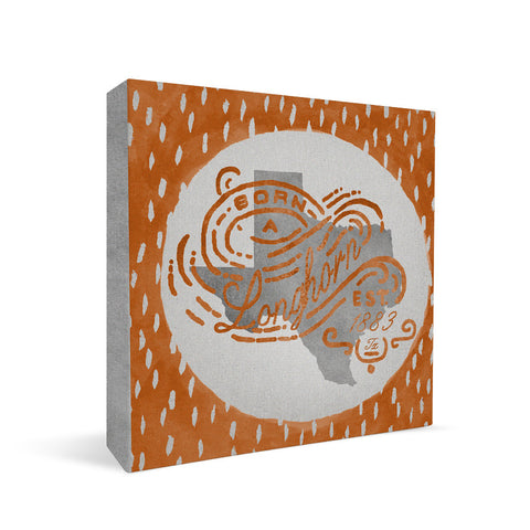 Texas Longhorns Born a Fan Square Shelf Block