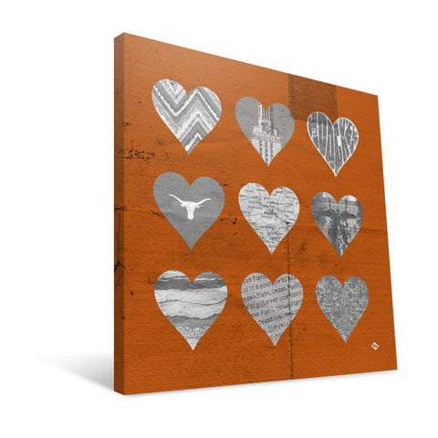 Texas Longhorns Hearts Canvas Print