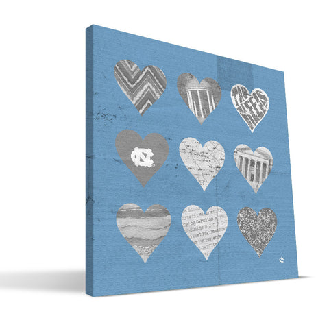 North Carolina Tar Heels Hearts Canvas Print