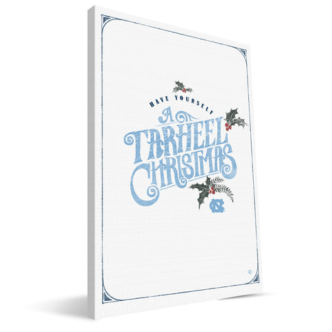 North Carolina Tar Heels Merry Little Christmas Canvas Print