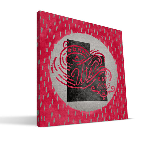 Utah Utes Born a Fan Canvas Print