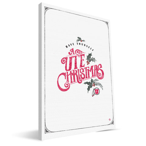 Utah Utes Merry Little Christmas Canvas Print