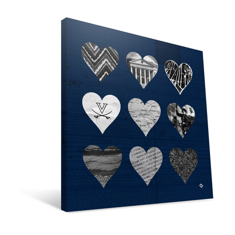 Virginia Cavaliers Hearts Canvas Print
