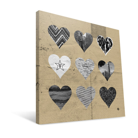 Vanderbilt Commodores Hearts Canvas Print