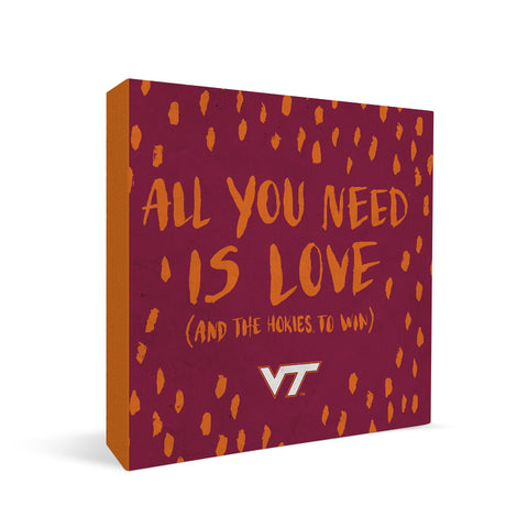 Virginia Tech Hokies All You Need Square Shelf Block