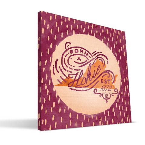 Virginia Tech Hokies Born a Fan Canvas Print