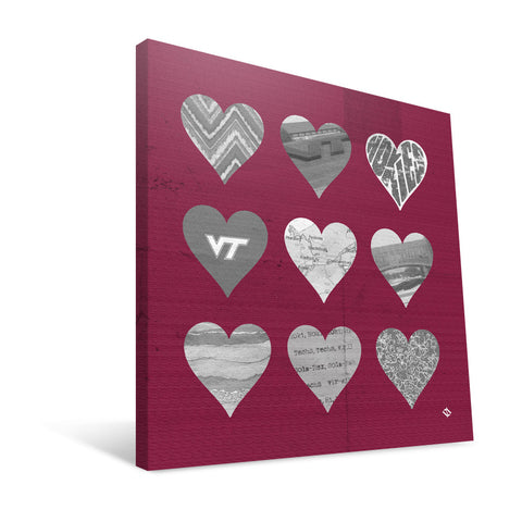 Virginia Tech Hokies Hearts Canvas Print