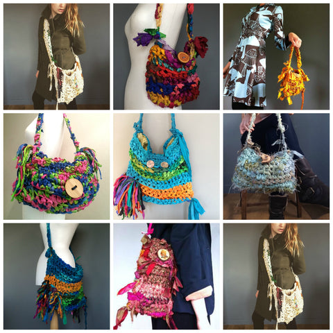 Sari silk ribbon crochet bags.