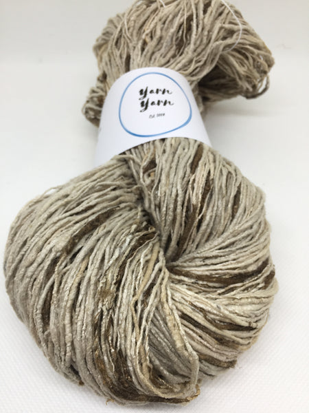 Organic eri and wild tassar handspun silk yarn. Natural colour. Pure beautiful silk!