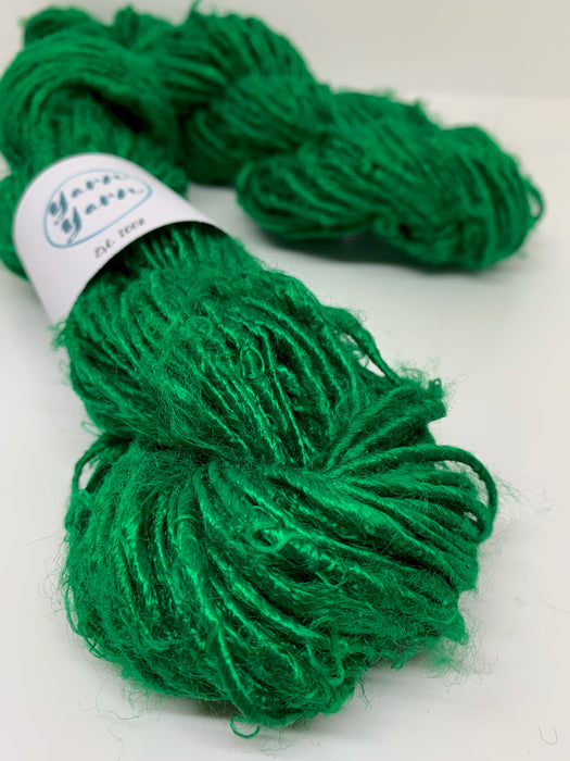 Banana yarn, Kelly green, vegan friendly.