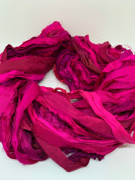 Sari silk ribbon, silk ribbon yarn for arts and crafts.  Vibrant pink SOLD OUT