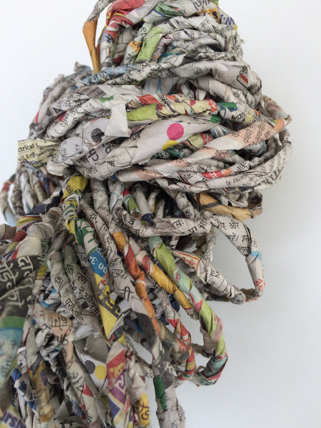 Recycled newspaper yarn from Indian newspapers. Ethical yarn for crafting.