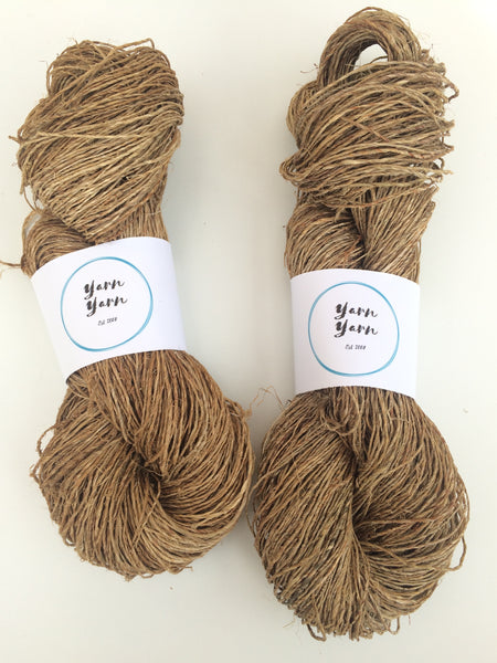 Hemp yarn, handspun organic yarn, ethical yarn, eco friendly yarn. Natural Yarn.