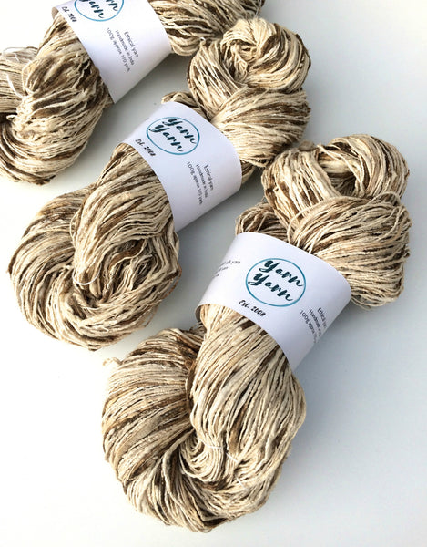 Organic eri and wild tassar handspun silk yarn. Natural colour.SOLD OUT