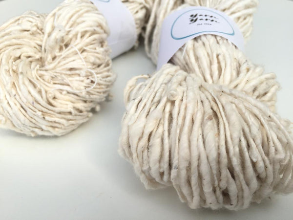 Organic raw slubby cotton yarn, organic yarn. Vegan yarn, Undyed. Super soft. SOLD OUT