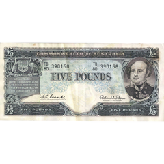 Five Pound Coombs Wilson Australian Banknote Good Fine To About Very Fine