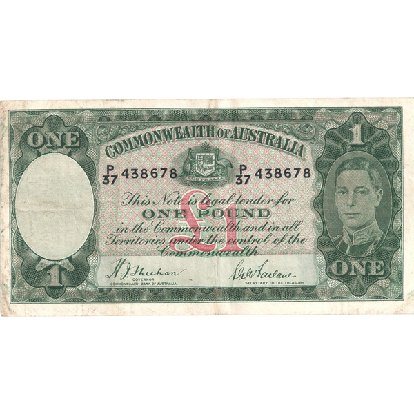 One Pound Sheehan Mcfarlane Australian Banknote Good Fine