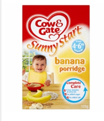 Cow & Gate 6m Onwards Sunny Start Banana Porridge 125g(BF-10)