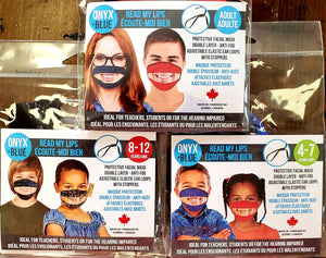 Read My Lips Transparent Masks, Available in Adult, Junior and Child Sizes