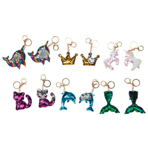 Raymond Geddes Sequins Key Chains, Dophin, Mermaid, Unicorn, Crown (70906)