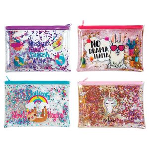Trendy Glitter Pencil Pouches, Assortment