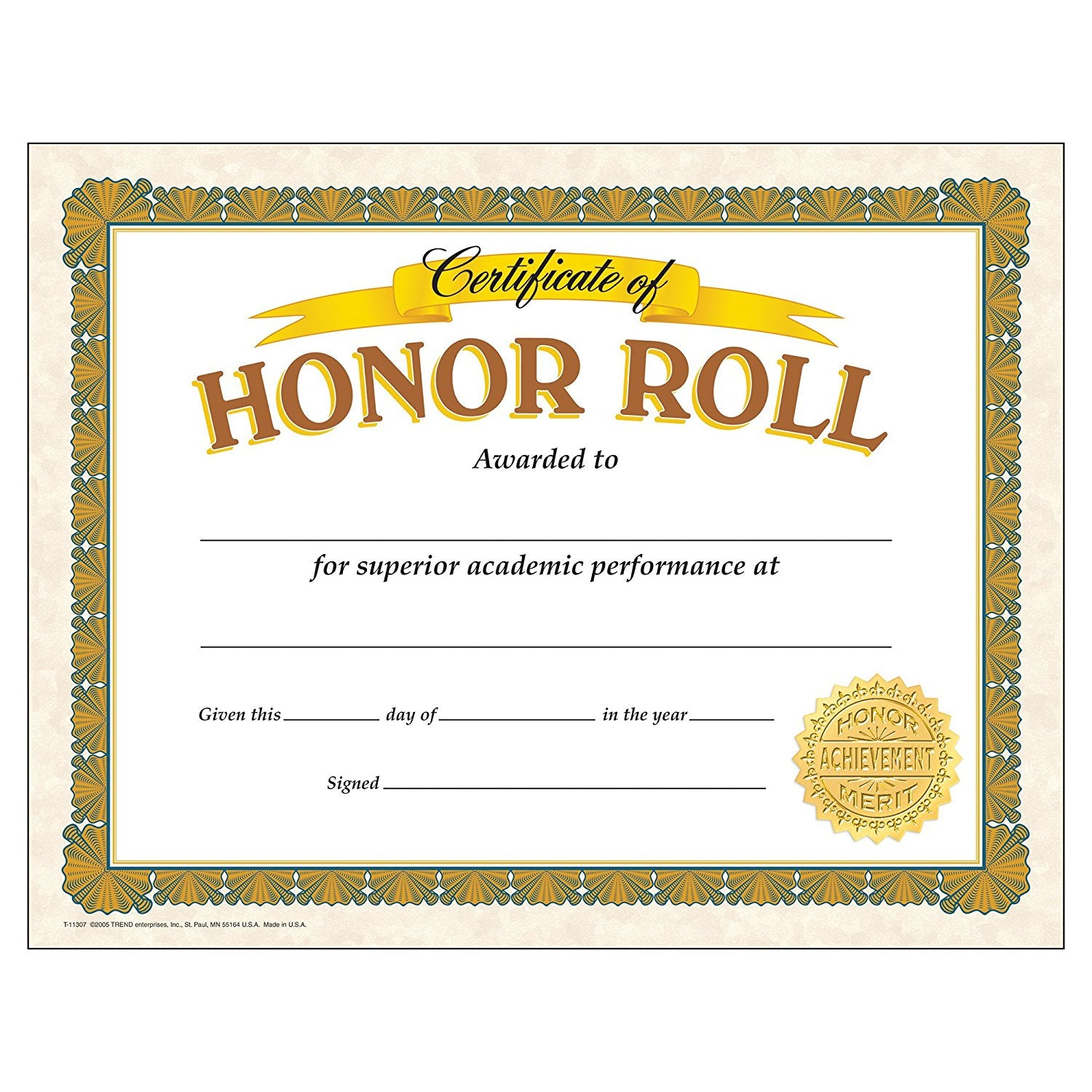 Certificate of Honor Roll (Pack of 30) T-11307