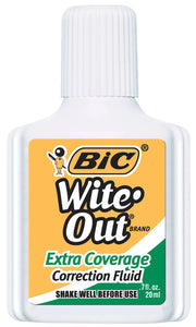 BIC Extra Coverage Wite-Out Correction Fluid, 0.7 fl. oz., White
