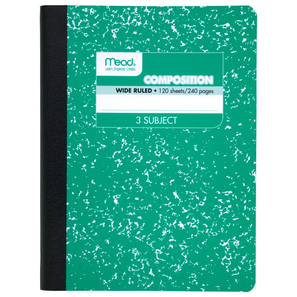 Mead Square Deal Composition Book 120 ct Wide Ruled, 3 Subject, Assorted Colors (09950)