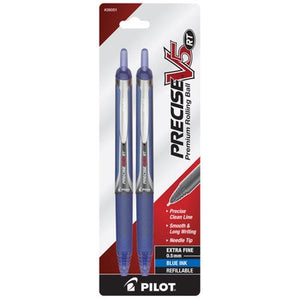 Pack of 2 Precise V5 RT XF Premium Rolling Ball Pens, Blue Ink, 0.5mm, Refillable