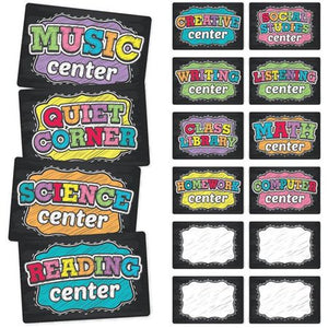 "Top Notch Neon Chalk Assorted Center Signs, 9""x6"", 16 Count (TNT-3113)"