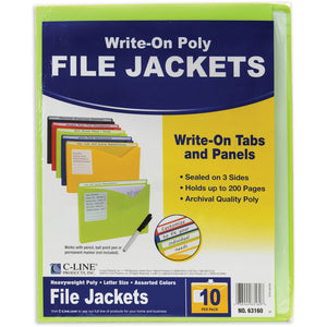 C-Line Write-On Poly File Jackets, Pack of 10 Assorted Colors (63160)