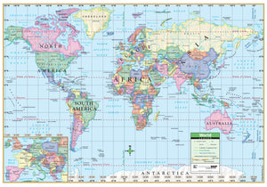"KAPPA Map World Political Rolled Paper Map, 40"" x 28"" (11766)"