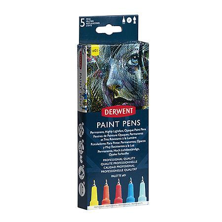 Derwent Permanent Lightfast Opaque Paint Pens, Palette #2 Set of 5 (2305519)