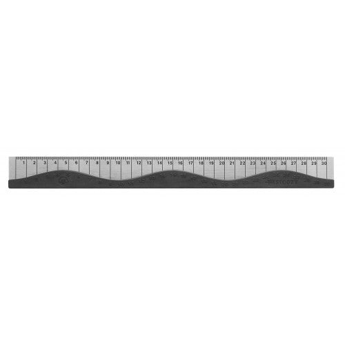 "Westcott 12"" Stainless Steel Wave Ruler w/ Rubber Grip, (Red, Blue or Black)"