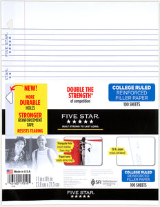 "Five Star College Ruled Reinforced Filler Paper, 100 Sheets, 10.5"" x 8"" (17010)"