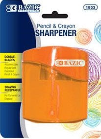 BAZIC Dual Blades Pencil & Crayon Sharpener w/ Square Receptacle (1933)