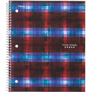 "Five Star 1 Subject Graphic College Ruled Spiral Notebook, 11"" by 8."""