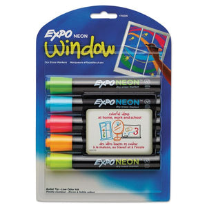 Expo Neon Window Dry Erase Markers, Set of 5