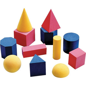 Didax Easyshapes 3D Geometric Solids, Foam, 12 Pieces (2-501)