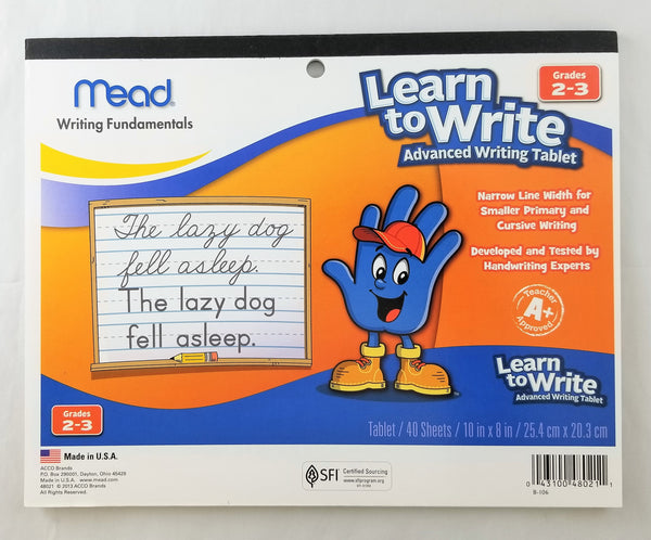 Mead® Learn to Write Advanced Writing Tablet, 40ct, Grades 2-3 (48021)