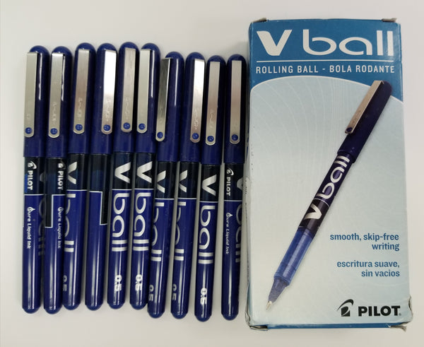 Pilot VBALL Extra Fine Rolling Ball Pens, Pack of 10, Blue Ink (35201)