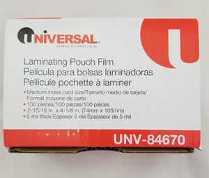 "Box of 100 Laminating Pouch Film, 2-5/16"" x 4-1/8"", 5 mil thick, UNV-84670"