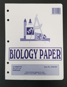 "EPi 10.5"" x 8"" Unruled Biology Paper, 14 Sheets, 3 Hole Punched (CO5190)"