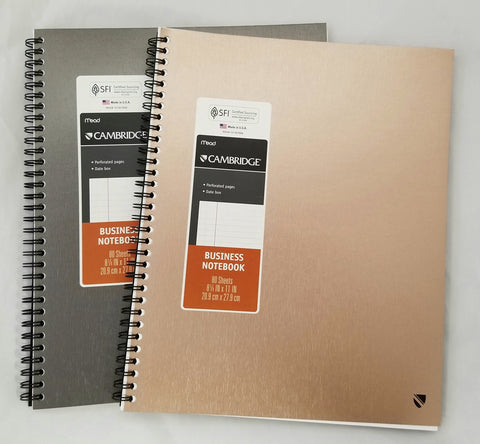 "Cambridge Metallic Business Notebook, 80 Sheets, 8.25"" x 11"", Asstd Colors (29650)"