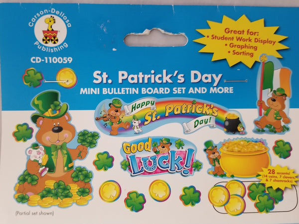 St Patrick's Day Mini Bulletin Board Set, (CD-110059) Bear, Clovers, Shamrocks
