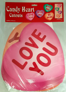 "Beistle Candy Heart Cutouts, Set of 4, Double-Sided, 14"" (77749) Valentine's Day"