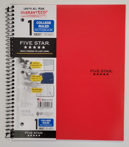 "Five Star Red Style Notebook, College Ruled, 1 Subject, 11"" x 8.5"" (04023)"